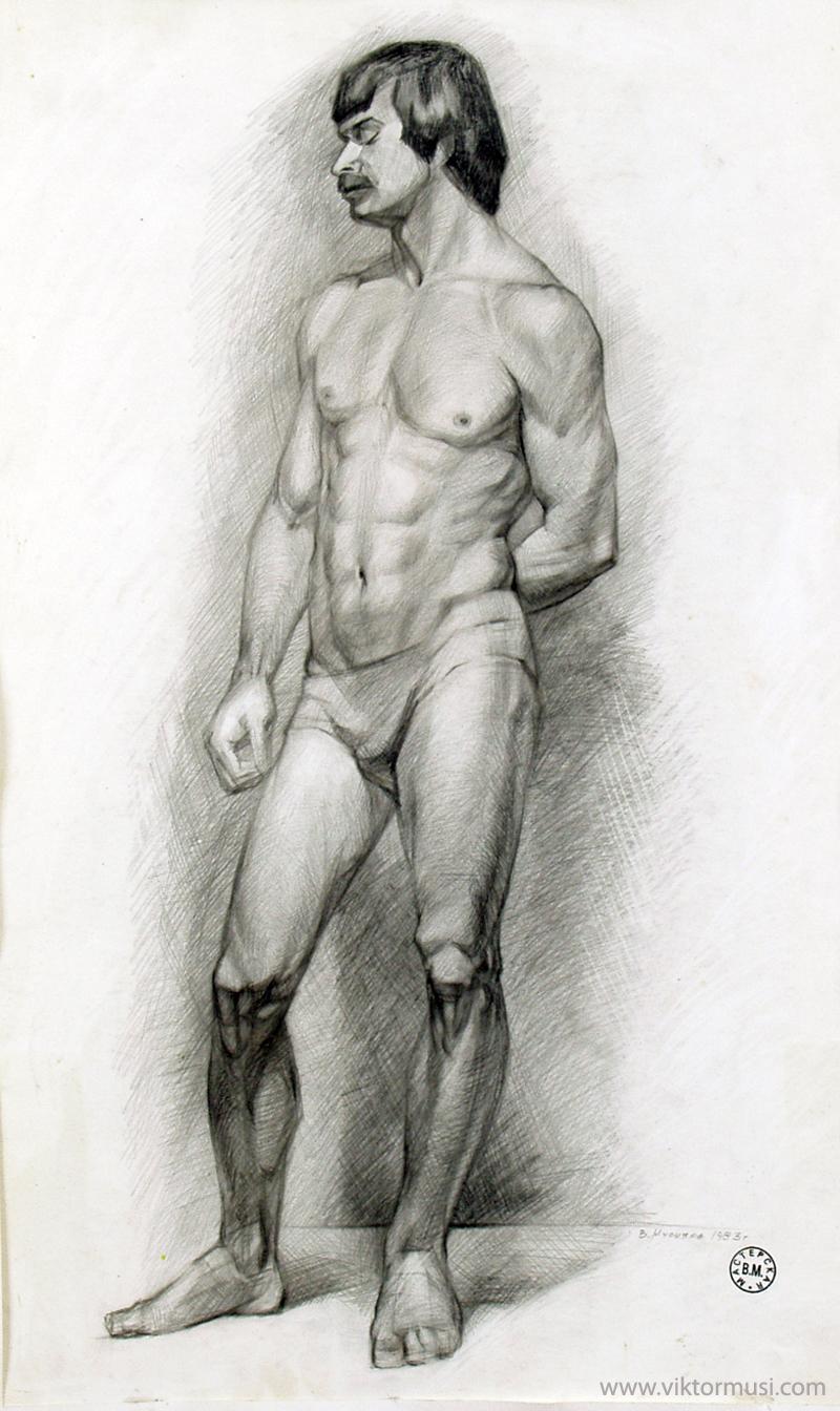 """Viktor Musi. """"Dessin académique."""" 1980. crayon noir sur papier. 70 X 50."""