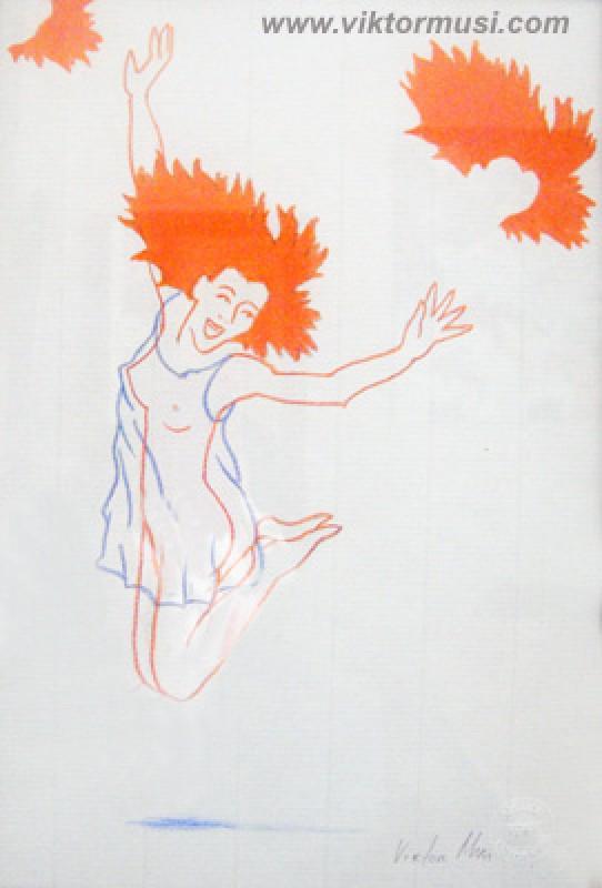 """Viktor Musi. Série de dessins """"Onirisme"""" 1990  2007. crayons des couleur sur papier. dimensions variables."""