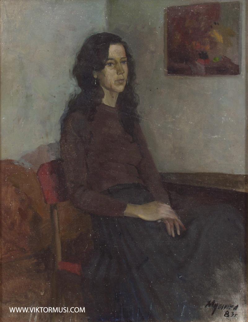 """Viktor Musi. """"Portrait."""" 1982. huile sur toile. 50 X 40."""