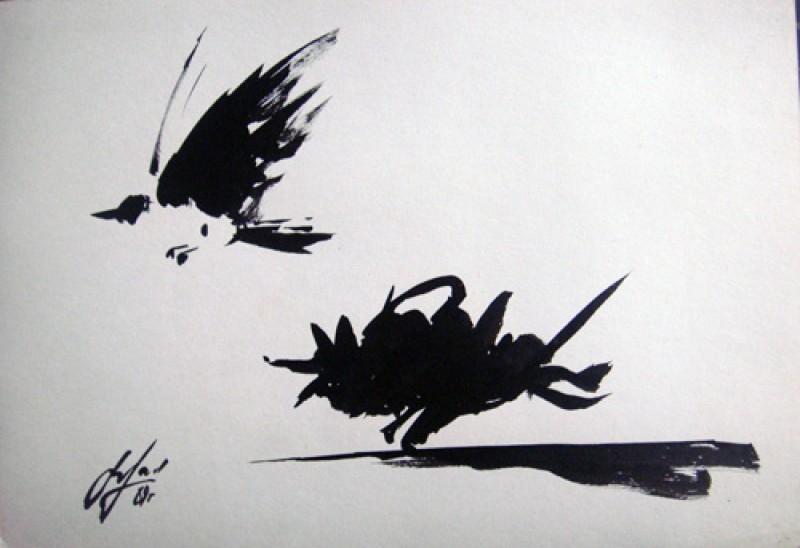"""Viktor Musi. Série de dessin """"Entre noir et blanc."""" 1987-1989. encre sur papier, dimensions variables."""