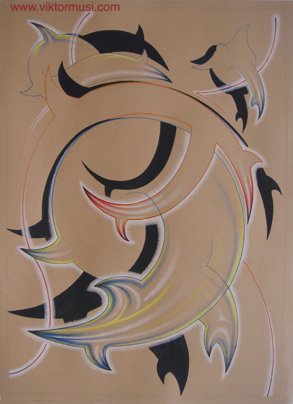 """Viktor Musi. Série de dessins """"Anti-Rides."""" 2011. crayons des couleur et acrylique sur carton kraft. 140 X 100"""